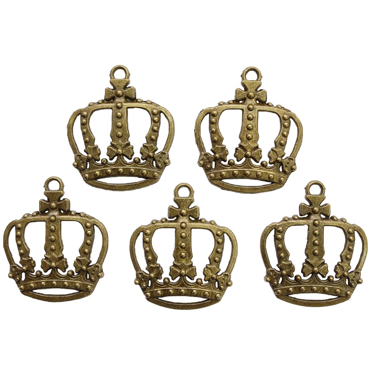 SCB25011521 Набор металлических подвесок 'Корона большая' 28*34мм, 5шт