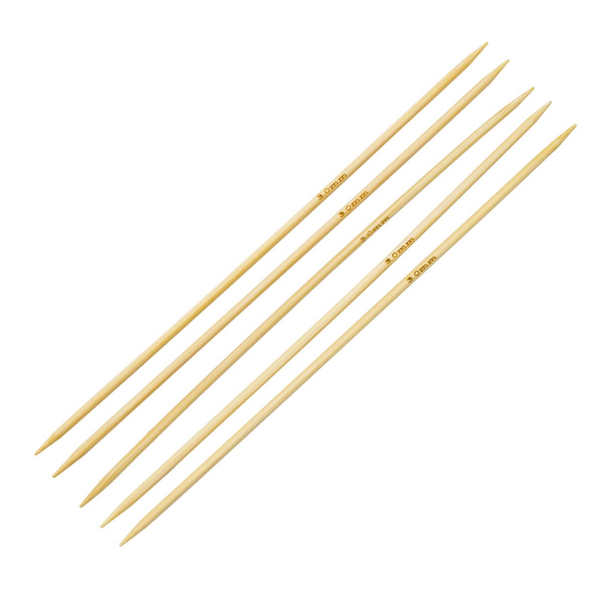 Спицы носочные бамбук 942530, 20 см, 3,0 мм, Hobby&Pro
