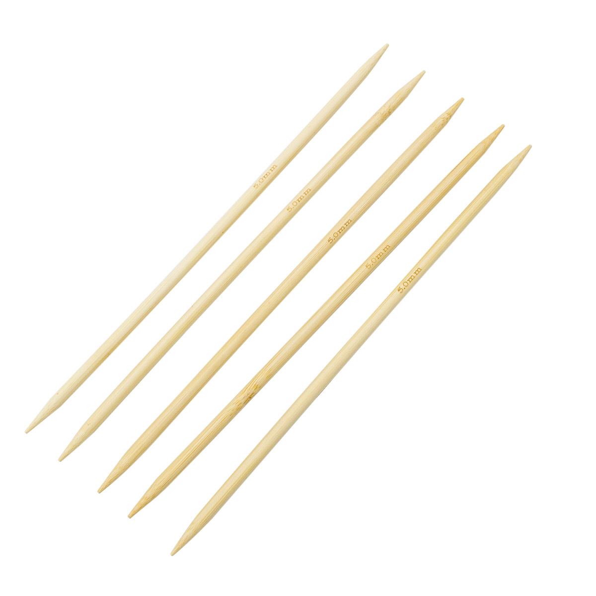 Спицы носочные бамбук 942550, 20 см, 5,0 мм, Hobby&Pro