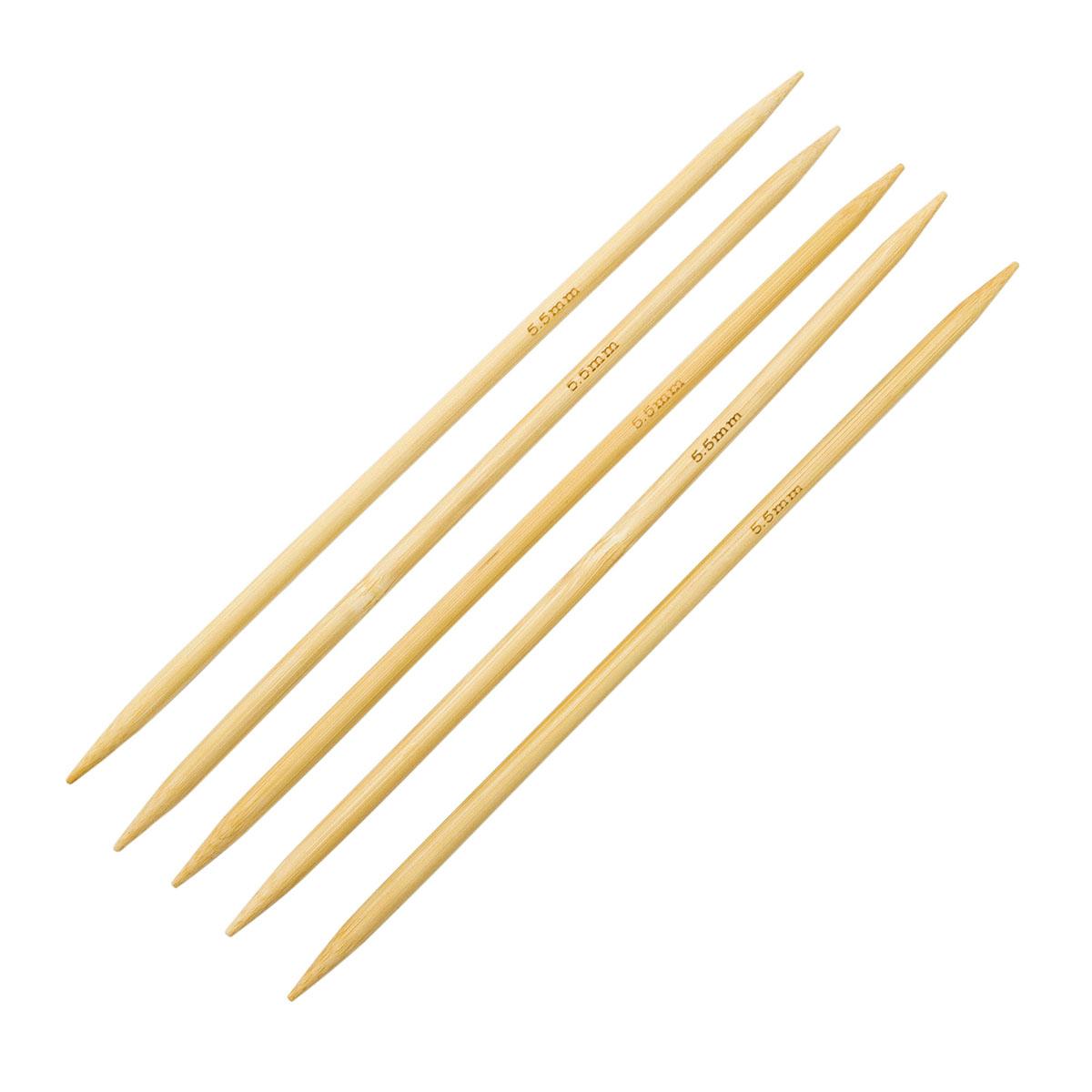 Спицы носочные бамбук 942555, 20 см, 5,5 мм, Hobby&Pro