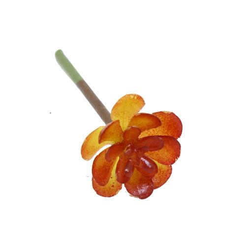 Суккуленты искусственные, Каменная роза малая, цв.зелено-бордовый
