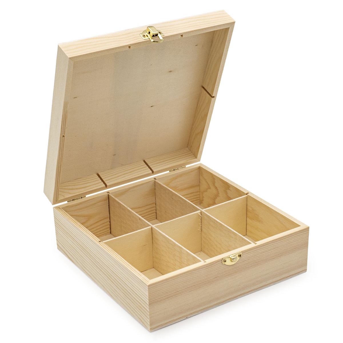 LYE015988 Шкатулка деревянная с шестью отсеками (сосна/фанера из тополя), 21.5*21.5*8.5см