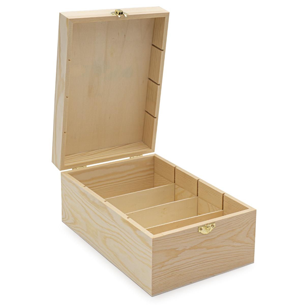 LYE015989 Шкатулка деревянная с четырьмя отсеками (сосна/фанера из тополя), 24*17*11см